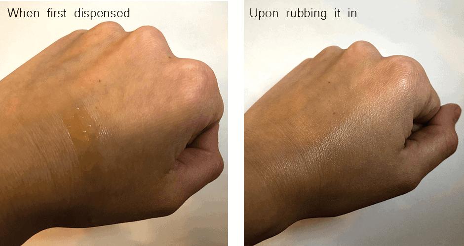 Evolve Satin Body Gloss hand test