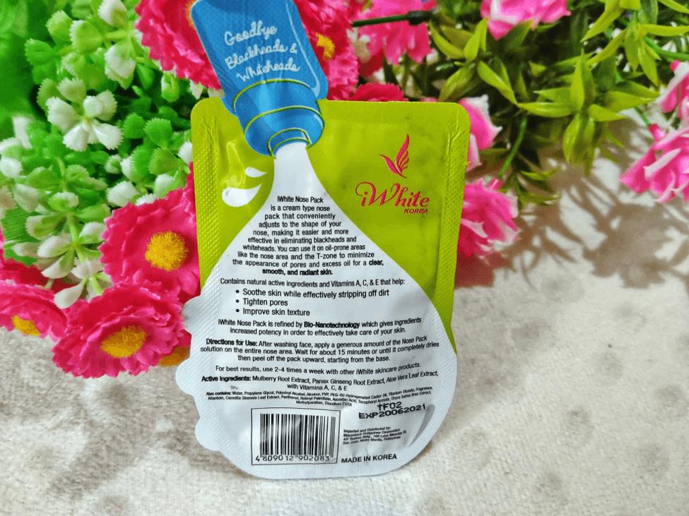 iwhite korea original nose pack backside ingredients
